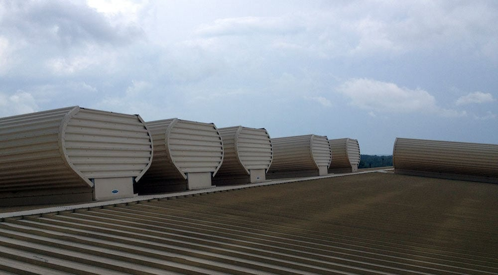 MoffittVent natural ventilators for Paper Plant
