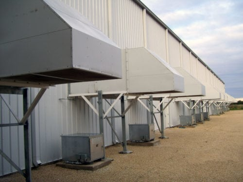 natural gas plant wall fans with 90 degree hoods