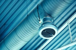 industrial warehouse air ventilation system pipe on the ceiling, Lower heating costs